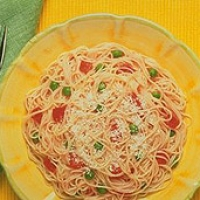 Image of Angel Hair With Pink Tomato Sauce Peas And Roasted Peppers Recipe, Group Recipes