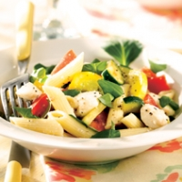 Penne With Summer Squash Tomatoes And Fresh Mozzarella Recipe