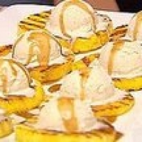 Image of Apricot-glazed Grilled Pineapple Sundaes With Rum Sauce Recipe, Group Recipes