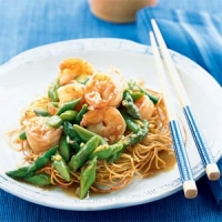 Image of Asparagus And Shrimp Stir-fry On Noodle Pillows Recipe, Group Recipes