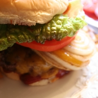 Cheddar Burgers With Balsamic Onions And Chiptole Ketchup Recipe