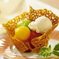 Image of Almond Cookie Baskets With Melon Recipe, Group Recipes