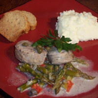 Image of Pork Medallions In Asparagus Mushroom Sauce Recipe, Group Recipes