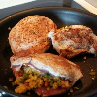 Corn Bread And Bacon Stuffed Pork Chops Recipe